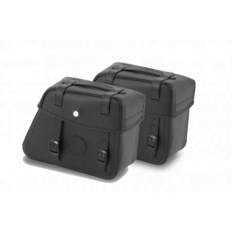 Hepco & Becker Black Rugged leather saddlebags for C-Bow carrier
